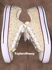 Women's Embellished Bridal Sneakers  (Pearls & Swarovski)