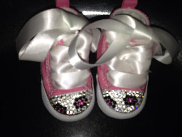 7729c29c9df2 Baby First Star Bling Converse w  Leopard Print (Pink Animal Print)