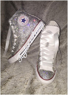76683448f603 Womens Bling Converse Embellished Inspired by Coco Chanel – Taylors ...