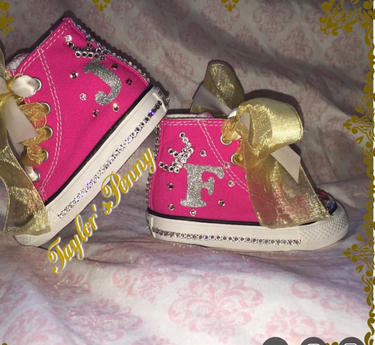 Girl's Bling Converse for A Princess w/ Satin & Tulle