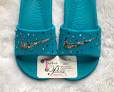 Bling Nike Slides (Blue Rainbow Non-Pride)