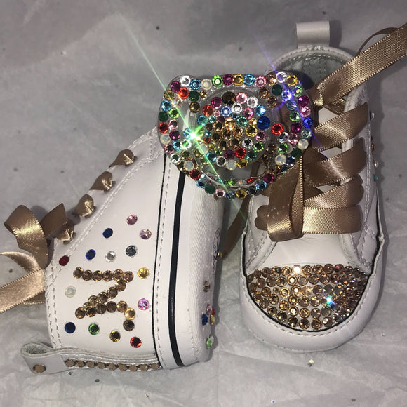 Bling Baby Converse w/  Rainbow Bling Pacifier