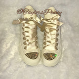 Womens Bling Converse Personalized (Creme)