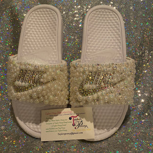 Womens Bling Nike Slides (PEARL AB)