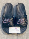 Womens Bling Nike Slides Purple Swarovski