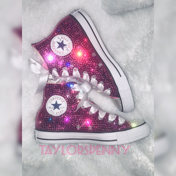 Womens Bling Converse Sneakers Embellished Fuschia