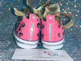 First Star Bling Converse w/ Hand Painted Leopard Print