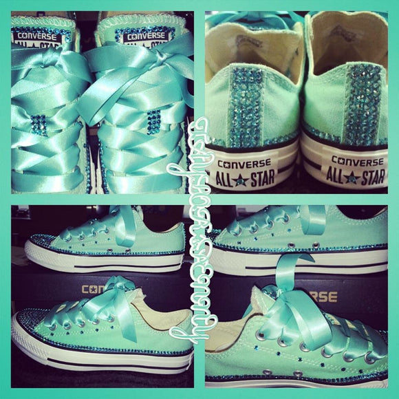 Women's Bling Converse (Bridal) Mint