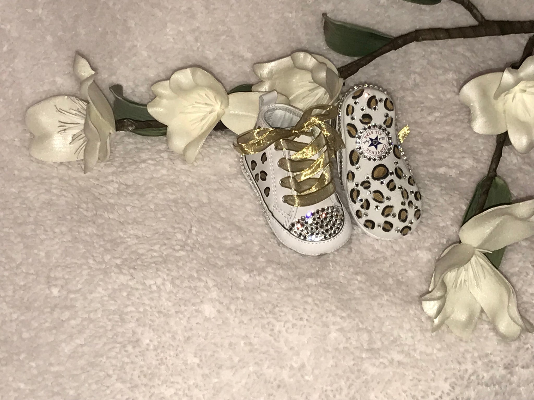 1f962d51a907 ... Baby First Star Bling Converse w  Hand Painted Leopard Print ...