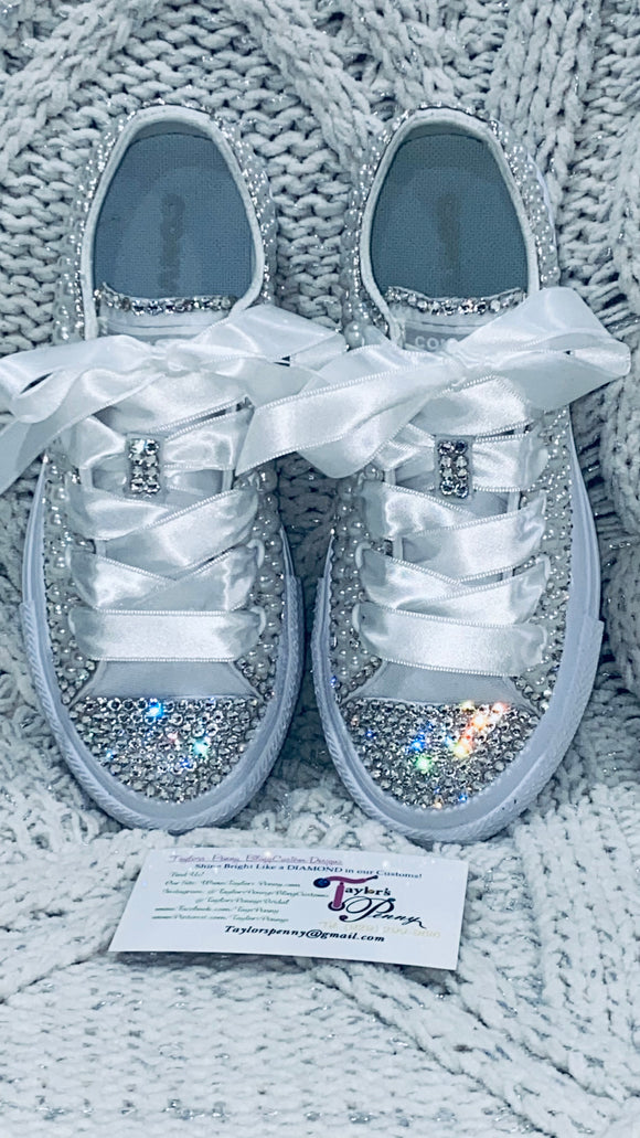 Pearl Embellished Communion Sneakers  (Pearls & Swarovski)