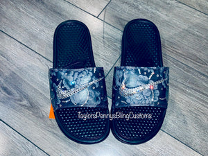 Womens Bling Nike Benassi Slides
