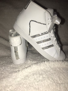 Womens Adidas - Swarovski Bling Adidas (Pro Model) Superstar Original White