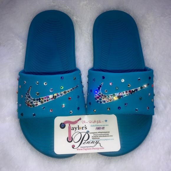 Bling Nike Slides (Blue Rainbow)