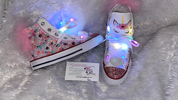 Embellished Pearl Unicorn Girls Bling Converse Sneakers