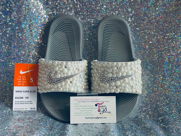 Womens Bling Nike Slides (PEARL)