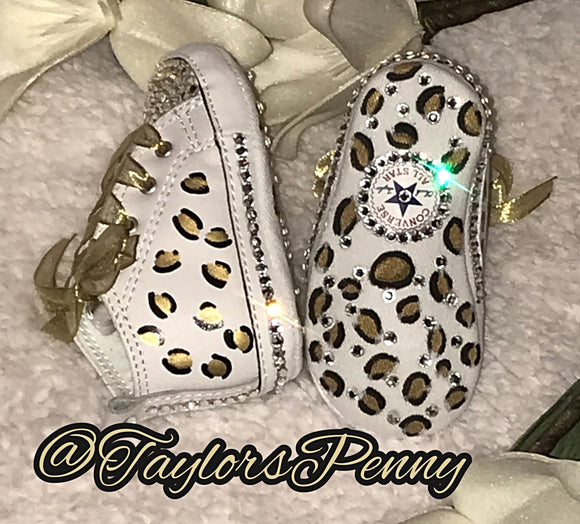 Baby First Star Bling Converse w/ Hand Painted Leopard Print