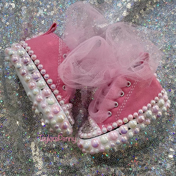 Baby Bling Converse w/ Bling Binky (Pink Pearls & Bling)