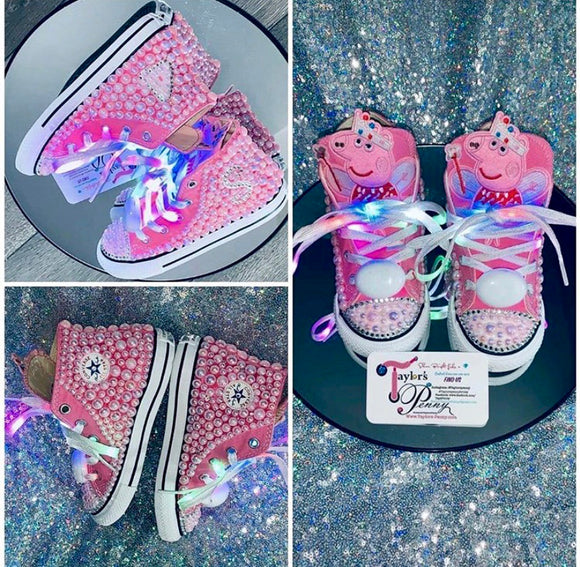 Peppa Pig Girls Bling & Pearled Sneakers