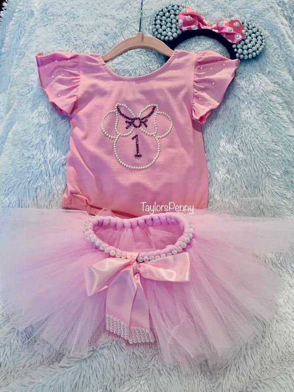 Bling & Pearl Custom Minnie Mouse Outfit