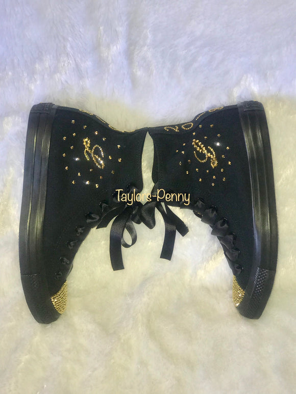 Womens Bling Sneakers - Black w/ Gold