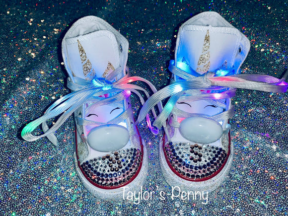 Unicorn Girls Bling Sneakers Initials