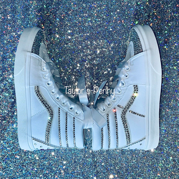Bling Vans White SK-8 SKATE BOARD Sneakers