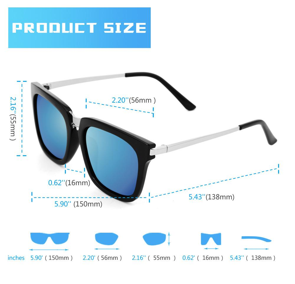 AKGSquare Mirror Polarized Sunglasses 17021 - CrystalHill