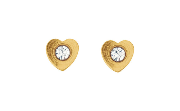 24k Yellow Gold Heart Accented Inverness Piercing Earrings