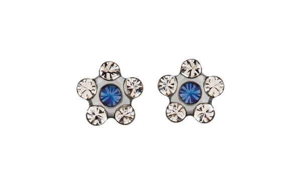 Stainless Steel Flower Accented Inverness Piercing Earrings