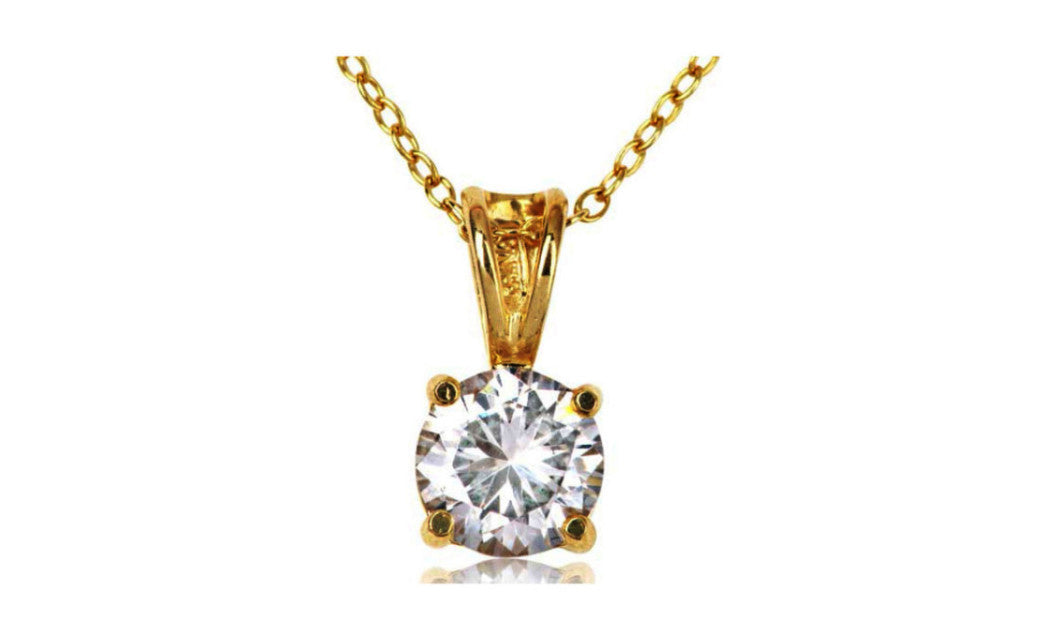 14k Yellow Gold Over Sterling Silver 2 Ct Round White Cz Necklace