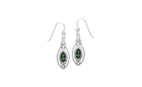 Sterling Silver Celtic Created Emerald Dangle Earrings