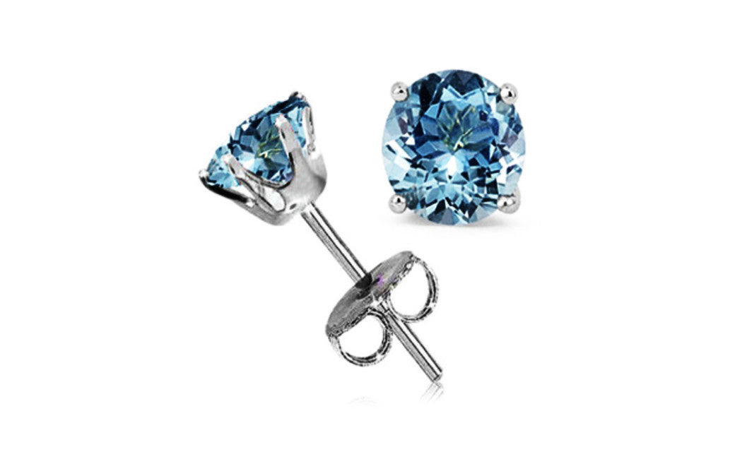 14k White Gold 4 Carat Round Aquamarine Cubic Zirconia Stud Earrings