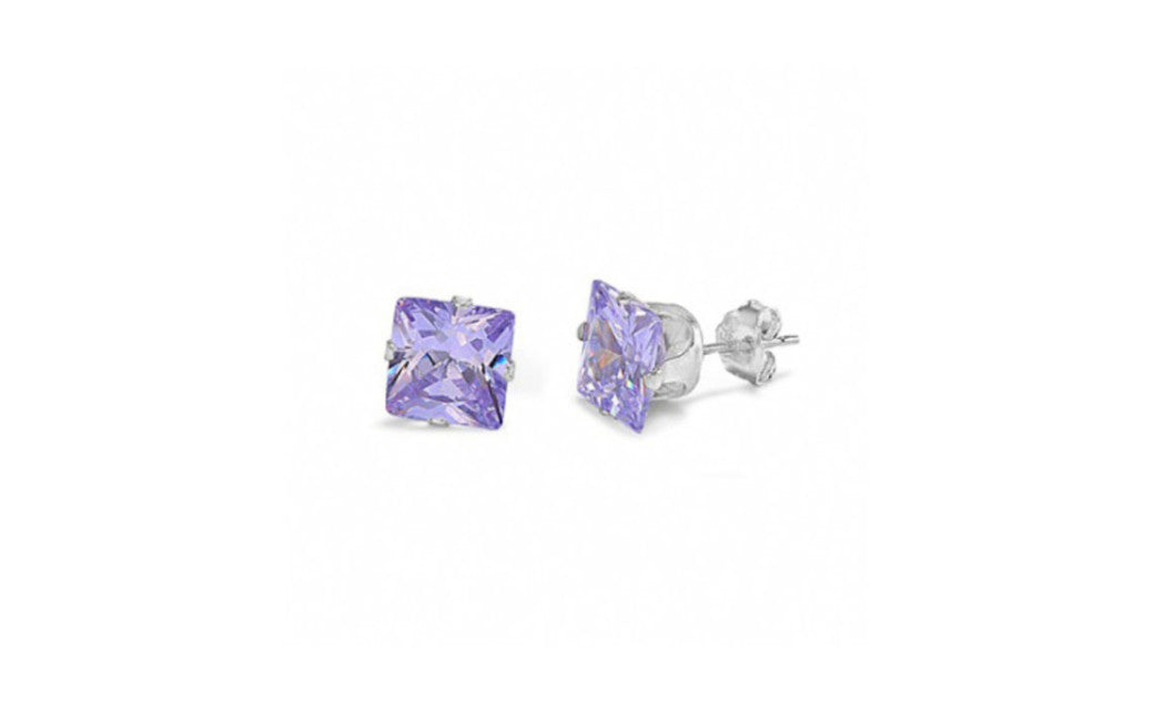 Platinum Over Sterling Silver 4Ct Princess Alexandrite Cz Stud Earring