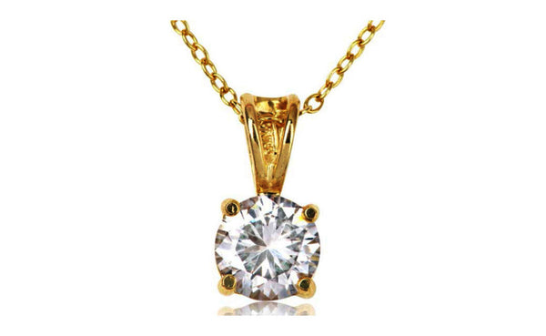 14k Yellow Gold Over Silver 2 Ct Round White Cubic Zirconia Necklace