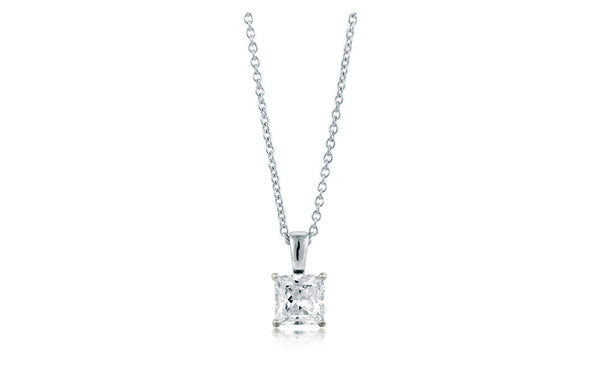 Sterling Silver Princess Cut 4 Ct Cubic Zirconia VS1 Necklace