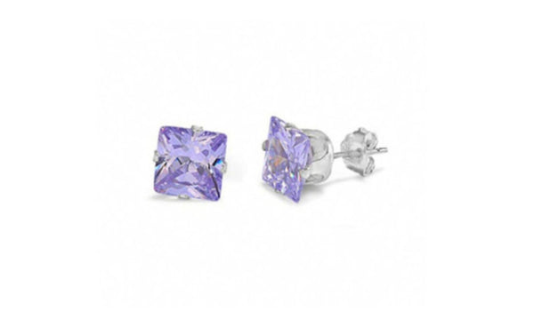14k White Gold 4 Carat Princess Alexandrite Cubic Zirconia Earrings