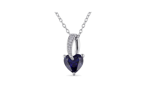 Sterling Silver Created Sapphire and Diamond Heart Necklace