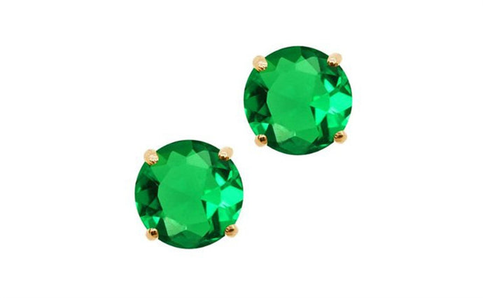 14K GREEN DIAMOND YELLOW GOLD EARRINGS