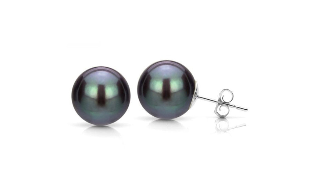 14k White Gold 8-9mm Round Freshwater Cultured High Luster Pearl Stud