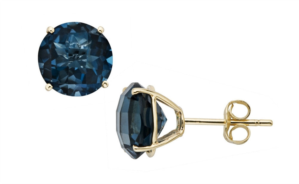 14K Solid Yellow Gold .40 Carat Genuine Rare Blue Diamond Stud Earrings
