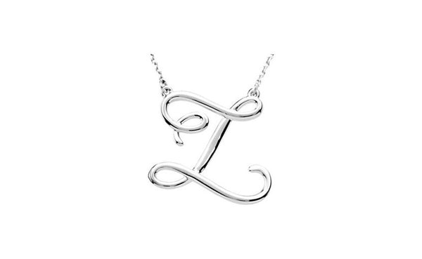 "Sterling Silver ""Z"" Script Initial 16"" Necklace"