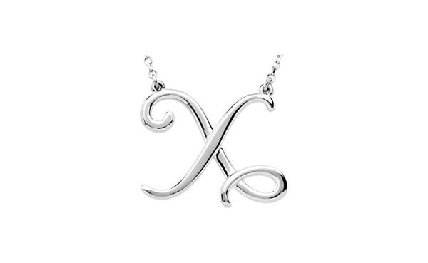 "Sterling Silver ""X"" Script Initial 16"" Necklace"