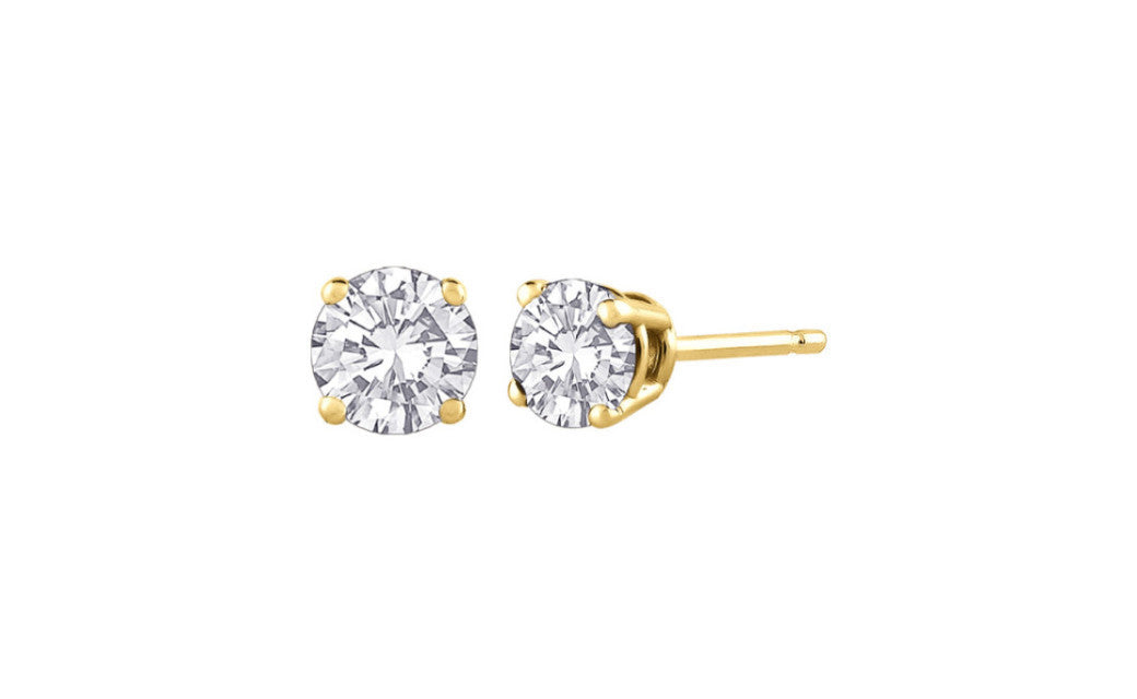 18K Yellow Gold Over Sterling Silver 2 Ct Round White Cz VS1 Earrings