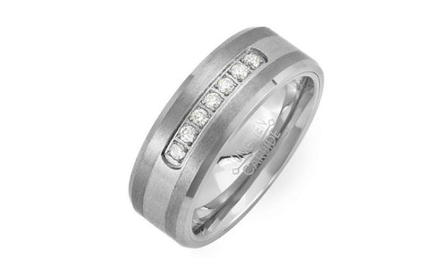 1 Carat Simulated Diamond Tungsten Ring For Unisex