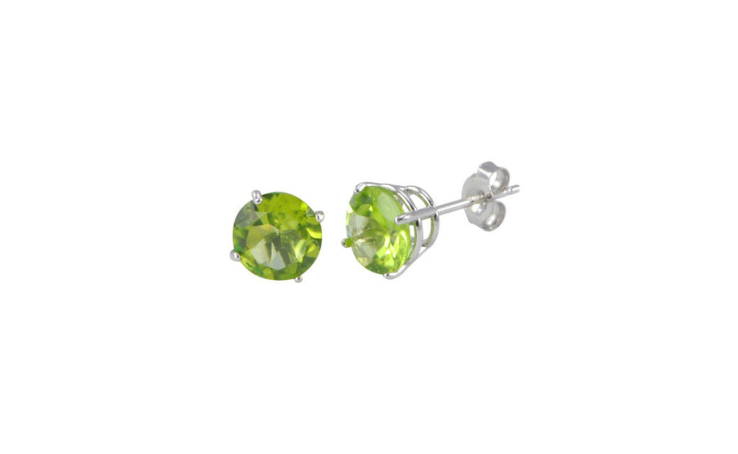 18k White Gold Over Sterling Silver 4Ct Round Peridot Cz Stud Earrings