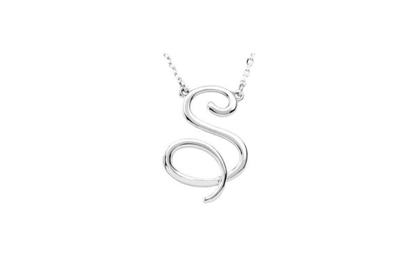 "Sterling Silver ""S"" Script Initial 16"" Necklace"
