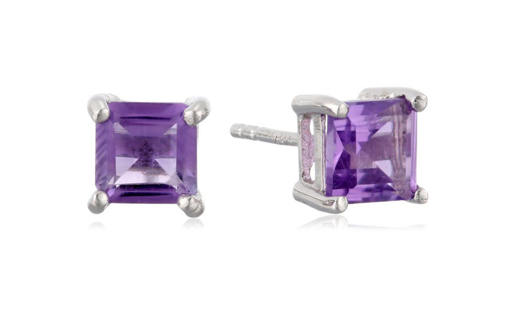 Sterling Silver 1.5 Carat Princess-Cut Cubic Zirconia Stud Earrings