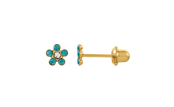14K Yellow Gold Youth Birthstone Flower Inverness Piercing Earrings