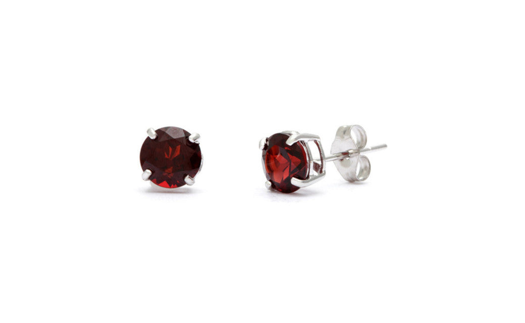 18k White Gold Over Sterling Silver 4Ct Round Garnet Cz Stud Earrings
