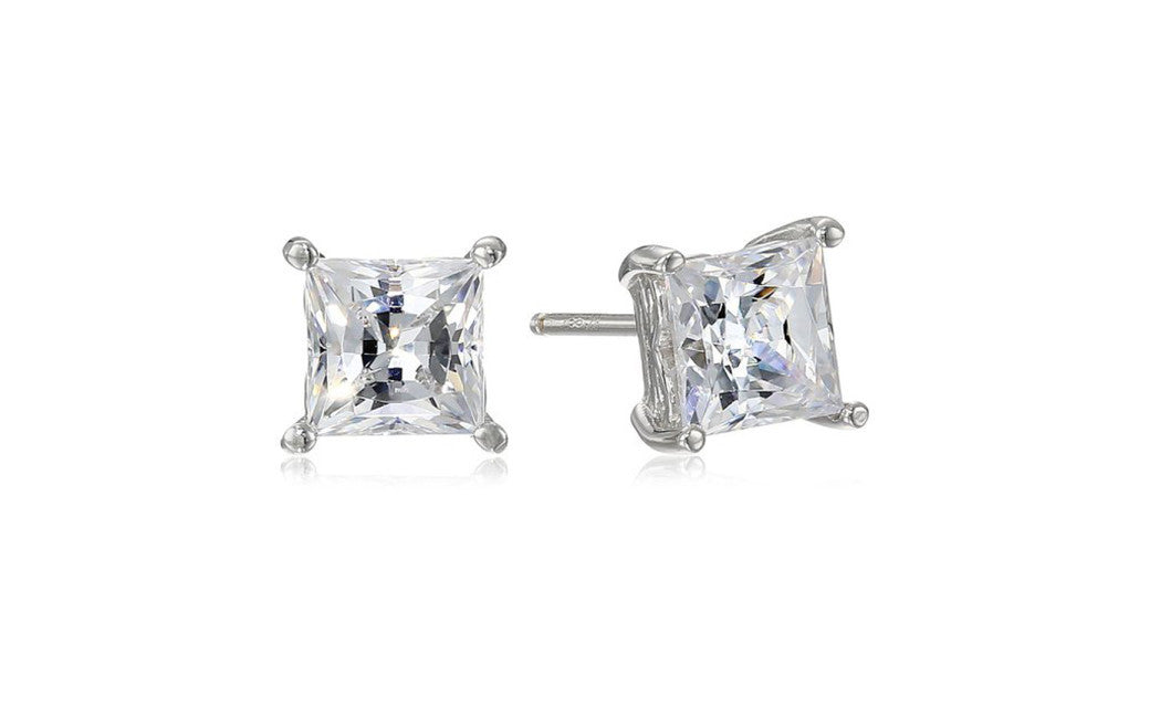 Plated Sterling Silver Swarovski Zirconia (2cttw) Princess Cut Earring